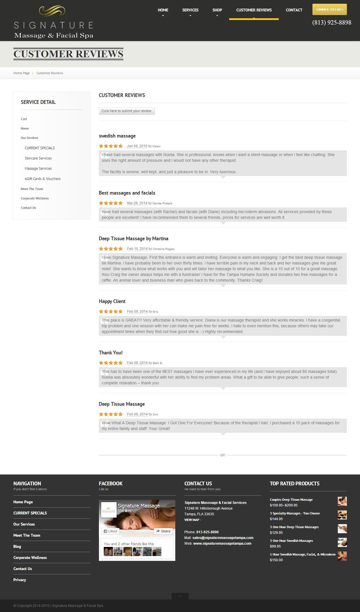 Customer Reviews   Signature Massage